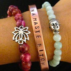 Yoga Bracelet Stack, Namaste Bitch, Lotus Pink Crazy Lace, Amazonite Lava Buddha on Etsy, $50.00