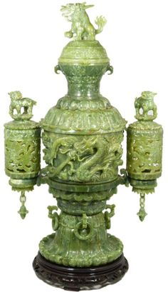 Hand carved Chinese green jade Foo Dog Censer