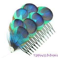 Wedding Fascinator, Peacock Feather Comb, Wedding Bridal Hair Piece, Peacock Hair Comb. $23.99, via Etsy.