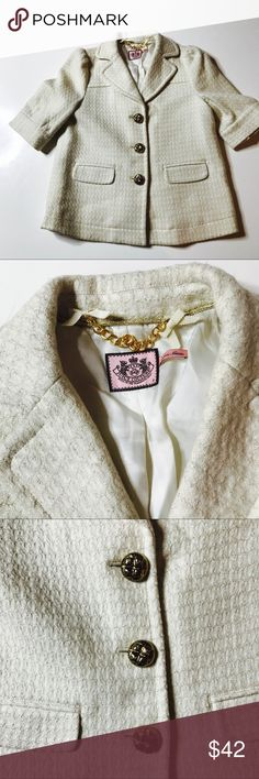 💋 Be the Boss in this blazer 💋 Never worn bottoms still wrapped the cream fabric is strung with gold thread it fully lined.  Juicy Couture Luxury Career coat very thick material.  This piece of clothing will not disappoint . 36 inch bust Juicy Couture Jackets & Coats