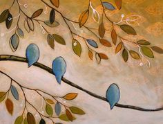 """Happiness...I love the """"bird on a line"""" effect plus the addition of colors and leaves."""