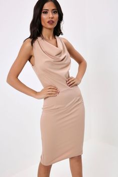 Stone Cowl Front Formal Midi Dress