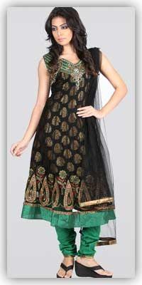 Sareez-Embellished-Black-Salwar-Kameez-Dupatta