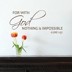 For with God, nothing is impossible - Vinyl Wall Art Decal Bible Scripture (Dark Brown, Large)
