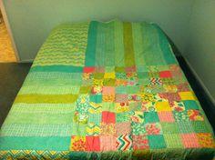 Queen-sized summer modern quilt. Cotton batting.