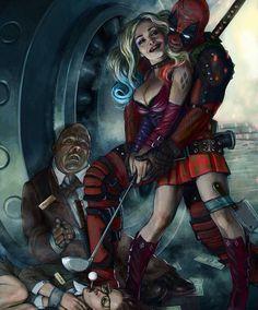"""redskullspage: """"Harley Quinn and Deadpool """" Comic Book Characters, Marvel Characters, Comic Character, Comic Books Art, Comic Art, Gotham, Marvel Comics, Comic Superheroes, Deadpool Love"""