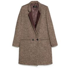 Flecked Wool-Blend Coat (€70) ❤ liked on Polyvore featuring outerwear, coats, jackets, coats & jackets, mango coat, brown coat, long sleeve coat, wool blend coat and button coat
