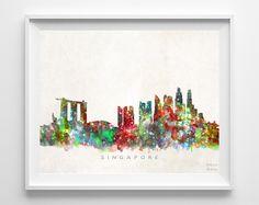 Singapore Skyline Watercolor Print
