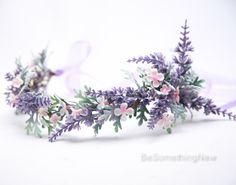 Lavender Wildflower Flower Crown Boho Wedding Floral Headpiece, Wedding Hair Accessory Lavender Flower Halo by BeSomethingNew on Etsy https://www.etsy.com/listing/288861833/lavender-wildflower-flower-crown-boho