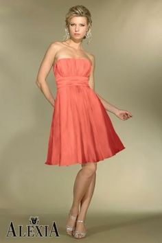 Chiffon Gathered,Strapless Style C972 Bridesmaid Dress by Alexia Designs