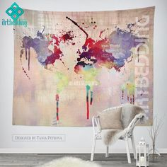 Boho tapestry world map watercolor wall tapestry modern abstract world map watercolor splash wall tapestry grunge world map wall tapestryhippie tapestry wall hanging bohemian wall tapestries modern watercolor gumiabroncs Image collections