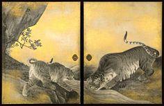 Tigers fusuma (Yûko zu, 遊虎図) by Maruyama Ōkyo (円山 応挙, 1733 – Edo period, Collection of Kotohira-gu Shrine (Kagawa). Important Cultural Property of Japan. Japanese Artwork, Japanese Painting, Japanese Tiger, Art Chinois, Japanese Photography, Art Japonais, Japan Art, Mural Art, Japanese Artists