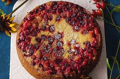 Nadiya Hussain's upside-down cranberry and elderflower cake. A recipe by the Bake Off star