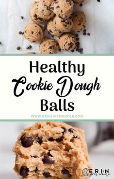 These Healthy Cookie Dough Balls are a healthy snack and take minutes to make. They are filled with nut butter, sweetened with honey, and only five ingredients total. Healthy Sweet Snacks, Healthy Deserts, Healthy Sweets, Healthy Dessert Recipes, Healthy Foods To Eat, Healthy Baking, Baking Recipes, Eat Clean Desserts, Healthy Fats