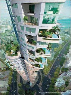Wolkenkrabber met balkon