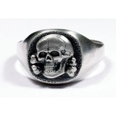 WWII German silver skull rings with crossbones for sale. Chunky Silver Necklace, Silver Skull Ring, Silver Hoop Earrings, Silver Jewelry, Skull Rings, Skull Jewelry, Jewelry Rings, Skull Reference, Biker Rings