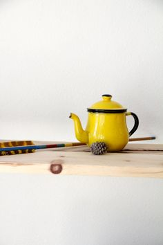 Vintage Japanese Yellow Enamel Teapot by WildPoppyGoods on Etsy