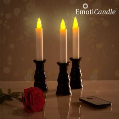 Surprise your partner by creating a romantic and special ambience in the Romantic Ambiance EmotiCandle LED candle light set). The soft LED light will decorate the spaces warmly. Includes: 3 LED Candles with 3 Candlesticks (Height x Diameter .