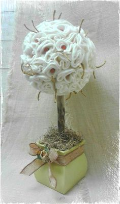 Topiary, Topiaries, paper flowers,  driftwood, altered pots, wooden beads, burlap, string, moss, wool, handmade, OOAK, Made by: Jazzie Menagerie