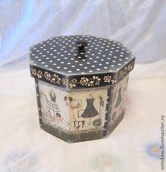 """Короб """"Короб модистки"""" - чёрный,короб,короб для хранения,коробка,короб декупаж"""