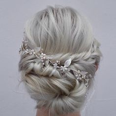 Pretty Wedding Updo with Pink Pewter Hair accessory