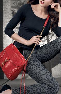 Rebecca Minkoff 'Mac Daddy' Shoulder Bag & Hue Leopard-Print Leggings #Nordstrom #AugustCatalog