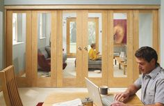 FreeFold Internal Sliding Folding Door set Shown with Pattern 10