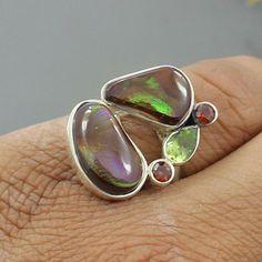 Natural Mexican Fire Agate Peridot & Garnet Ring  by Silvergem2014, $45.20