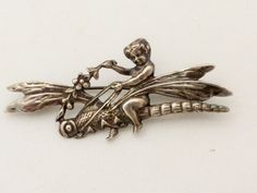 Art Nouveau Art Deco Pixie Nymph Riding a Dragonfly Sterling Silver Brooch