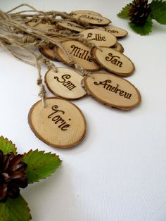 Rustic Wedding name tags - Key Ring - Personalised wooden place cards - Escort Cards - Favours by WoodyWomansWorld on Etsy