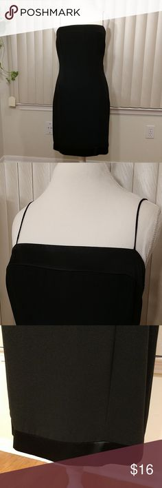 "Jones New York Spaghetti Strap Black Dress Elegant dress trimmed with silky-soft material on the hem and on near the neckline. Very little to no sign of wear.   Approximate measurements:  Shoulder to hem = 37"" Armpit to Armpit = 18"" Jones New York Dresses Midi"