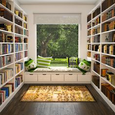 Adorable small home library ideas with twin white wooden book case and white wooden window seat with green pattern cushion mixed brown pattern area rug design ideas, Superb Small Home Library Ideas: Furniture, Interior