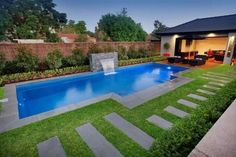 Mini Inground Pools, Pool Designs For Small Backyards Small, Swimming Pools For Narrow Yards - Web Design Online Swimming Pool Landscaping, Small Swimming Pools, Small Backyard Landscaping, Swimming Pool Designs, Landscaping Ideas, Pool Paving, Backyard Plants, House Plants, Small Backyard Design