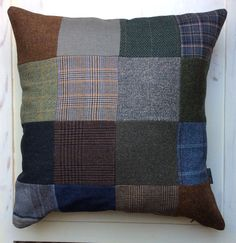 Tweed patchwork cushion cover.  16 squares - 52 x 52 cm. Check my webshop at www.bakerstreethandmade.com