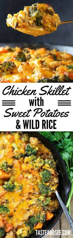 Chicken Skillet with Sweet Potatoes, Wild Rice, & Broccoli - a hearty, comforting one-pan meal! http://tasteandsee.com