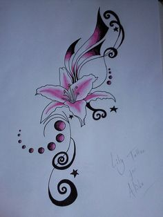 Stargazer Lily Tattoos On Foot | pink lily tattoo by jess wood designs interfaces tattoo design 2010 ...