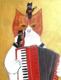 "Ein Acryl-Gemälde von Pete Shumada mit dem Titel: ""Cat jazz accordion trio"". Stichworte: #Accordion #Art #Humor #Painting #Cat #Trio"