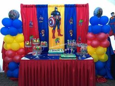 Avengers Backdrop - Visit to grab an amazing super hero shirt now on sale! Avengers Birthday, Superhero Birthday Party, 6th Birthday Parties, Birthday Party Decorations, Party Streamers, Flower Tutorial, Baby Ideas, Ideas Para, Boys