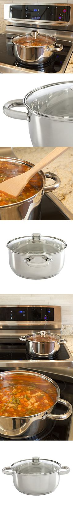 Ecolution Pure Intentions Dutch Oven  Features Tempered Glass Lid, Stay-Cool Handles, and Encapsulated Bottom  Oven Safe  Curbside Recyclable Stainless Steel  5 Quarts