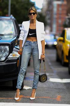 NYFW Spring 2015 Street Style: Sports bra as a bandeau top inner