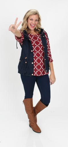 $44.99 Love Is A Battlefield Navy Military Vest + $39.99 Ooh La La Crimson Quatrefoil Blouse + $44.99 Cognac Walk It Out Riding Boots = MUST HAVE!  >>> Mondaydress.com <<<