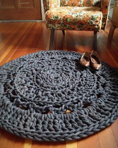 My friend Mallory makes these amazing rugs, and I had no idea!   3' Giant Crochet Doily Rug Charcoal by mdotstudio on Etsy