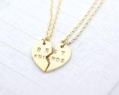 BEST FRIENDS Split Heart Necklace in Gold   zizibejewelry - Jewelry on ArtFire