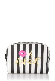 Striped Kiss Makeup Cosmetic Bag | FOREVER21 #F21Cosmetics #Makeup #Stripes