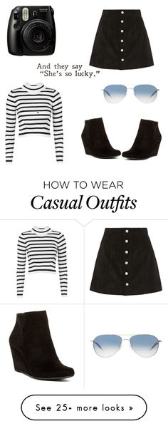 """Casual day"" by tfoges on Polyvore featuring Topshop, Jessica Simpson, AG Adriano Goldschmied, Oliver Peoples, women's clothing, women, female, woman, misses and juniors"