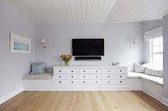 Beach Bungalow Bedroom with TV Over Built In Dresser - Cottage - Bedroom Beach Bungalows, Tv In Bedroom, Interior, Bungalow Bedroom, Bungalow, Coastal Interiors, Bedroom Built Ins, Beach Style Bedroom, Built In Dresser