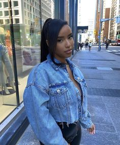 . Weave Ponytail Hairstyles, Denim, Hair Styles, Casual, Jackets, Instagram, Slay, Fashion, Down Jackets
