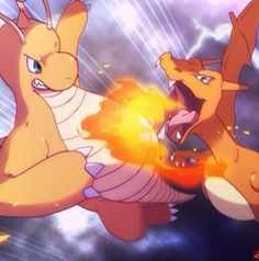 Charizard fighting with Dragonite!