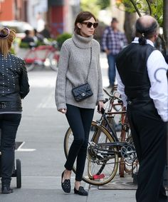 Alexa Chung. Laid back vibes. mini crossbody. slippers. oversize turtleneck.