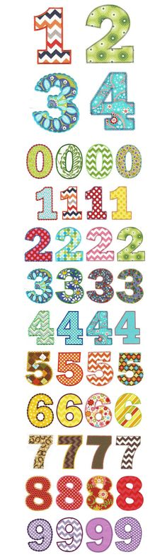 Embroidery | Applique Machine Embroidery Designs | Chunky Numbers Applique